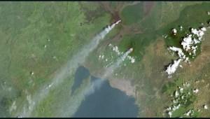 Erupciones del volcán monte Nyiragongo desde el espacio