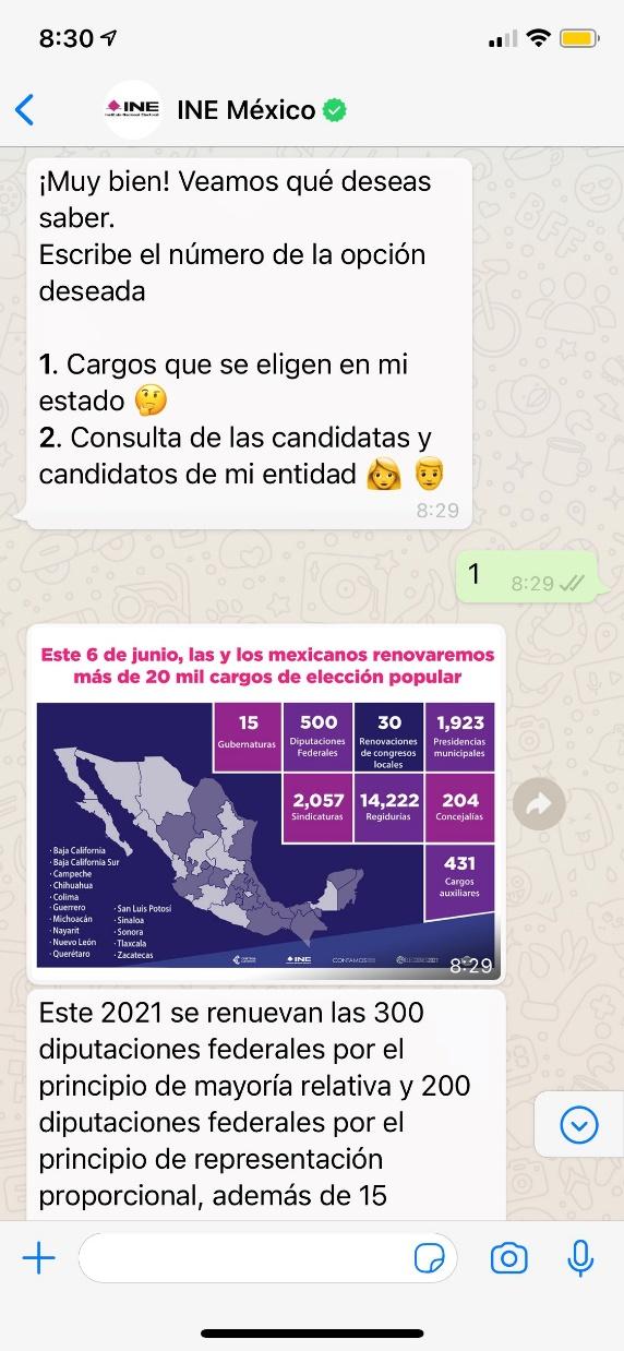 Chatbot INE elecciones México 2021