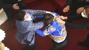 Escándalo y golpes en el Congreso de Bolivia
