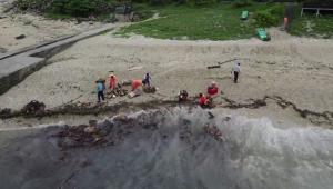 Impactantes imágenes de un derrame de petróleo en Taiwán