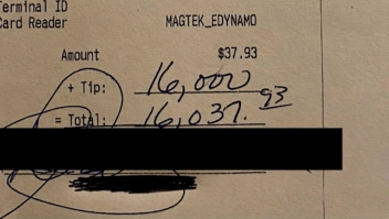 Camarera recibe US$ 16.000 de propina