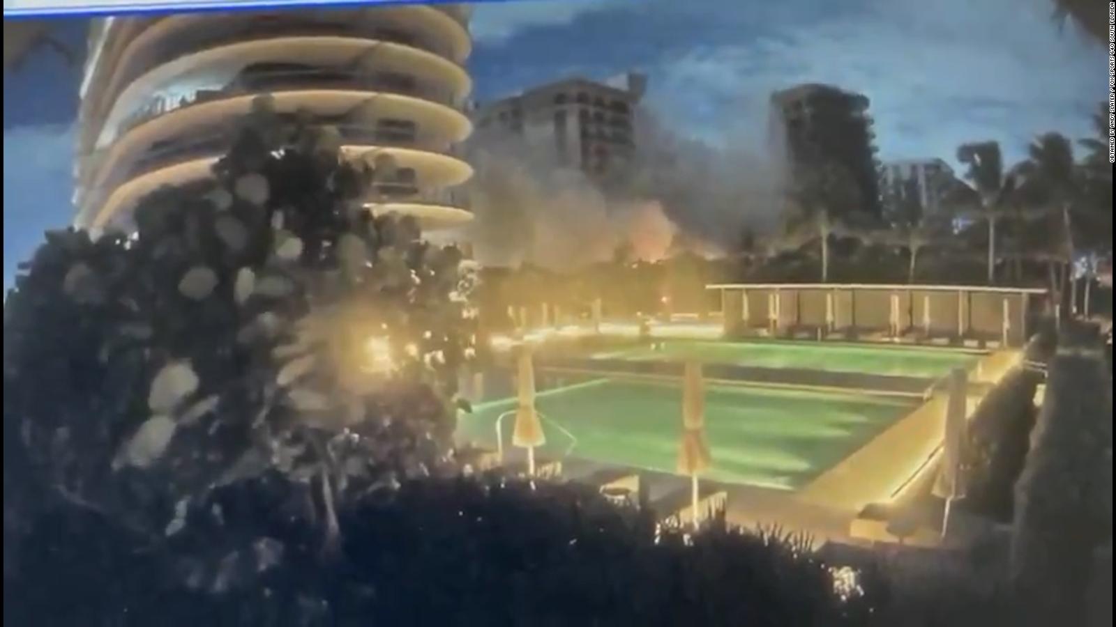 Video muestra el momento en que se derrumba el edificio en Surfside