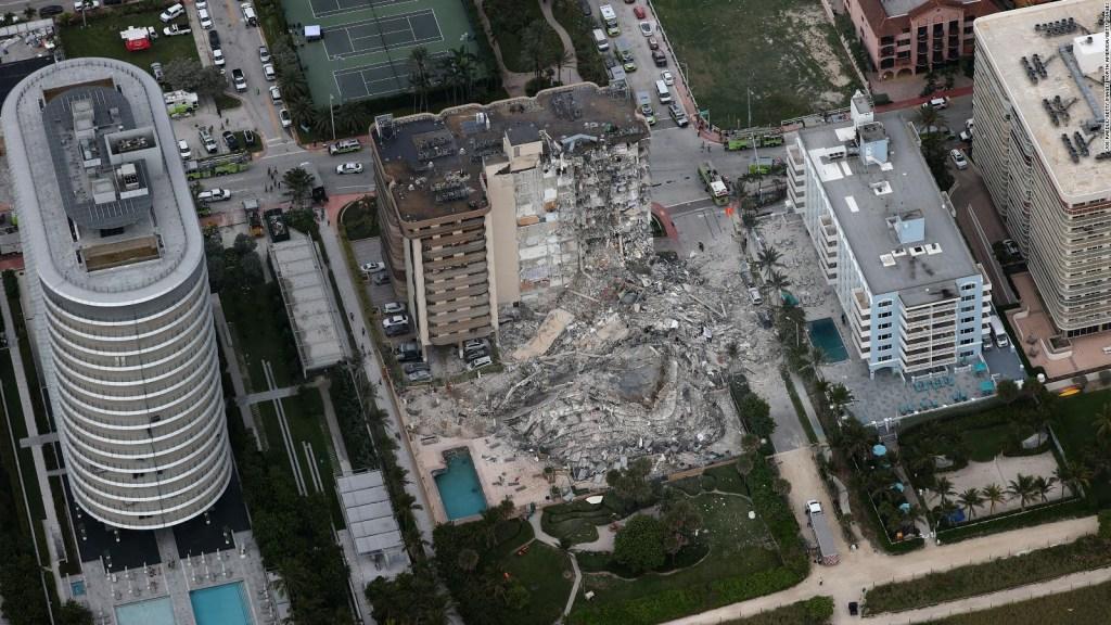 Así se ve edificio derrumbado en la Florida