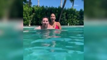 Messi y su video bajo el agua con Antonela