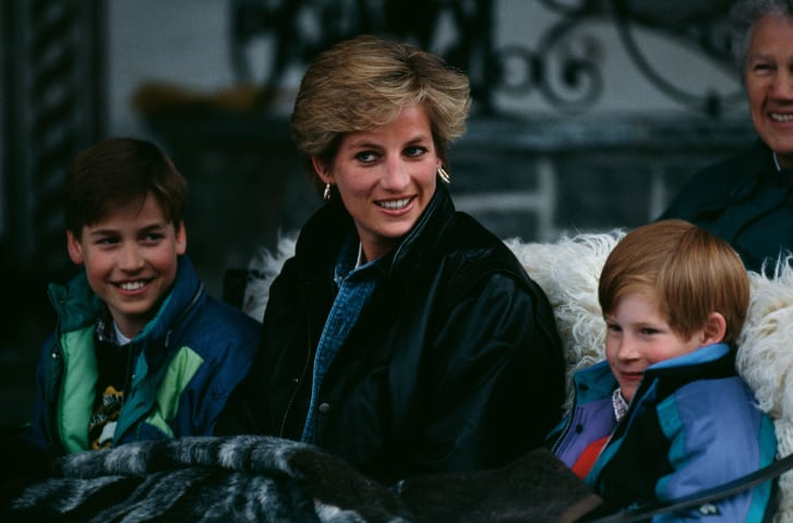 Princesa Diana y sus hijos en 1993