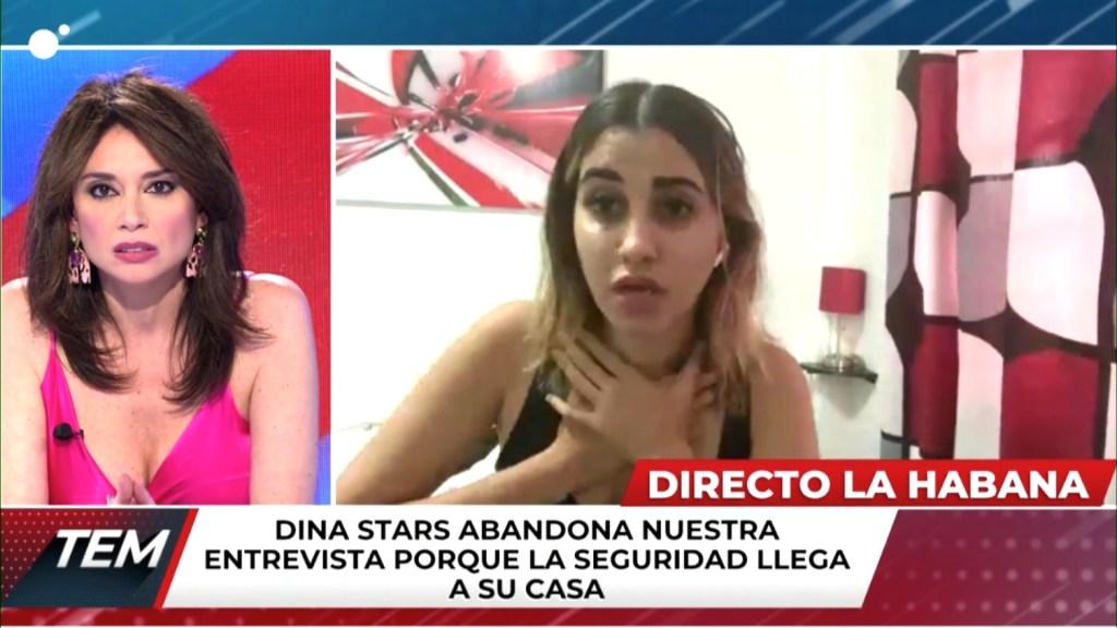 Screenshot des Live-Interviews mit der Youtuberin Dina Stars auf Canal 4 in Spanien. | Bildquelle: https://t1p.de/vd5c © CNN/ Canal 4 | Bilder sind in der Regel urheberrechtlich geschützt