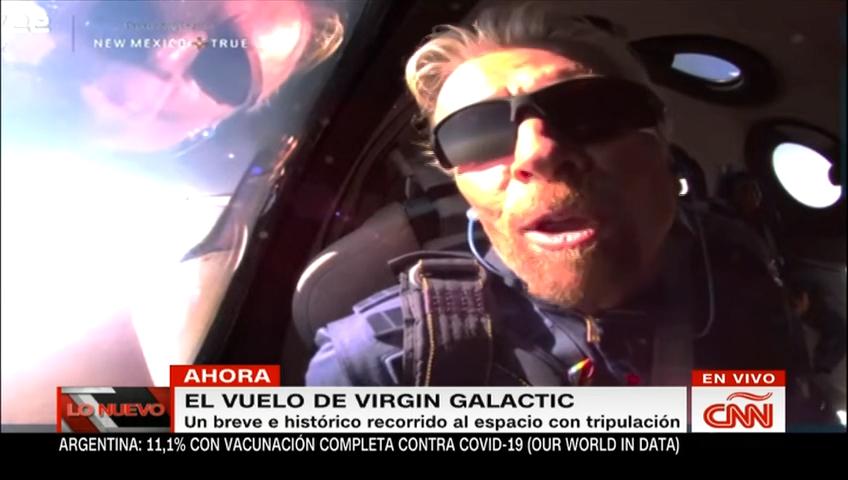 Richard Branson habla desde el espacio en el avión de Virgin Galactic: Esto es precioso desde arriba, gracias a todos