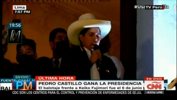 El presidente electo Pedro Castillo da apasionado discurso