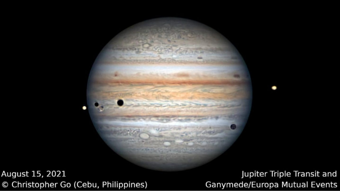 Mira cómo ocurren tres eclipses simultáneos en Júpiter