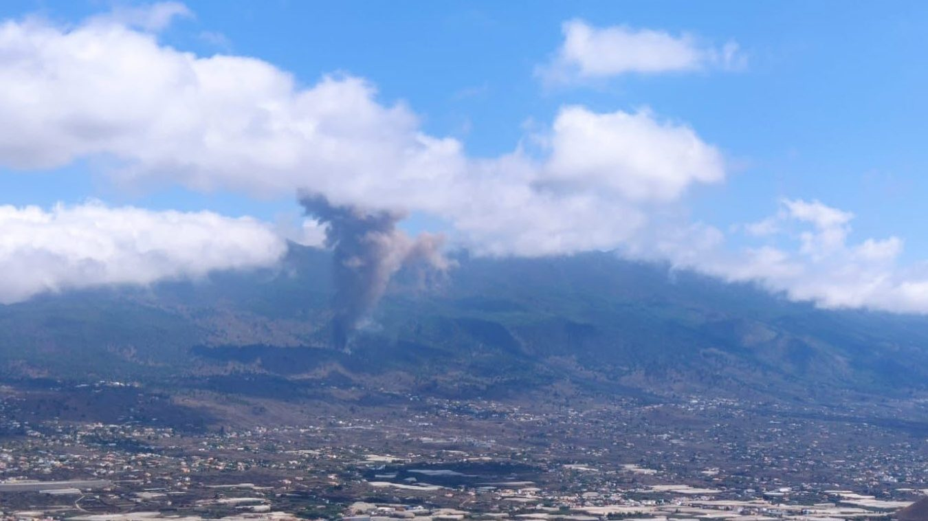 Eruption of the Cumbre Vieja volcano on one of the Canary Islands in Spain
