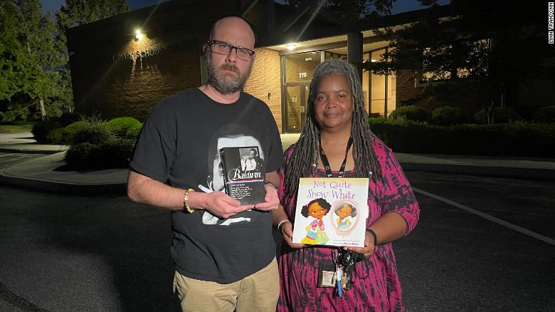 Parents show some of the forbidden books