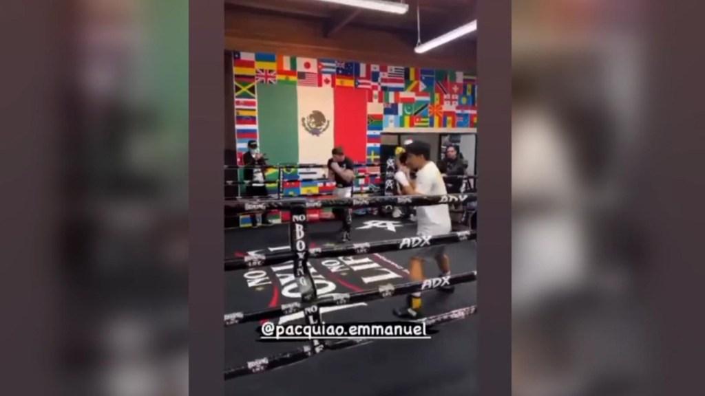 Canelo Álvarez entrenó al hijo del Pacquiao: el video