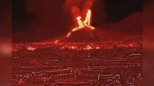 Así se ve el volcán Cumbre Vieja a través de una cámara termográfica