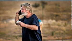 A distraught Alec Baldwin lingers in the parking lot outside the Santa Fe County Sheriff's offices on Camino Justicia after being questioned on Oct. 20, 2021 about a shooting when a prop gun misfired earlier in the day on a local movie set.