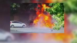 Impactante video de la explosión de un taxi en Buenos Aires